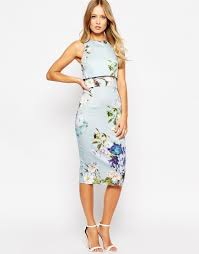 image 4 of asos crop top pencil dress in baby blue floral the i