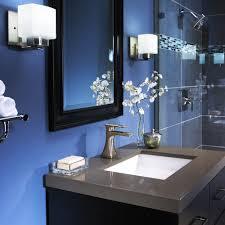 royal blue bathroom decor standing washbasin under the mirror