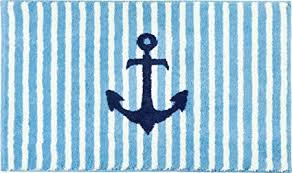 erwin müller badematte badteppich maritim hellblau größe rund 80 cm ø flauschig weicher flor rutschhemmend für fußbodenheizung geeignet weitere