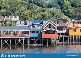 100 Houses In Chile Palafitos Stilt Castro Stock Image Image Of