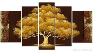 Tree Wall Decor Wood handpainted money tree oil paint 5panels goldentree modern canvas