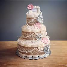 This Listing Is For A Three Tier Pink And Grey Rustic Shabby Chic Diaper Cake With