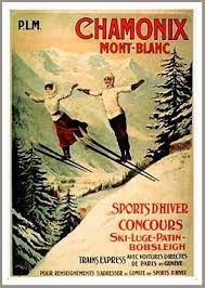 Chamonix French Art Deco Ski Poster