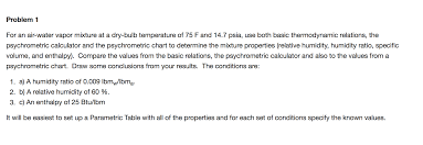 problem 1 for an air water vapor mixture at a dr chegg