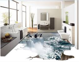 3d Pvc Flooring Custom Photo Bedroom Waterproof Floor Ice Waterfall Penguins Painting Wall Murals Wallpaper