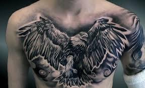 Black Eagle Full Chest Tattoo For Men