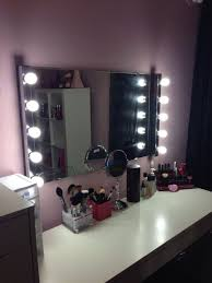 astonishing rectangle makeup mirror with lights white wall paint