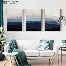 berg wand kunstdrucke indigo kunst abstrakte landschaft leinwand malerei dunkelblau wand poster bilder schlafzimmer dekoration