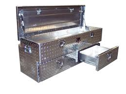 Diamond Plate 2-Drawer Tonneau Cover Tailgate Offset Chest Utility ...