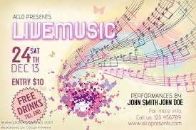 Live Music Poster Template Background By Design
