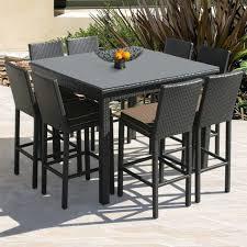 Brown Rattan Teak Outdoor Bar Table Furniture Matalinda Piece Set