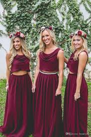 Burgundy Bridesmaid Dresses Two Pieces Country Style Navy Blue Beach