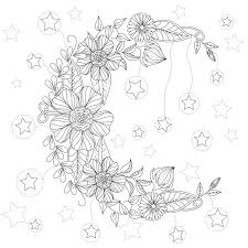 Floral Moon Coloring Page Design MS