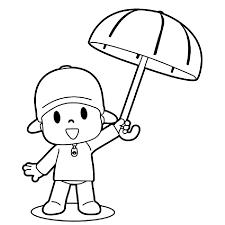 Pocoyo Con Un Paraguas Para No Mojarse De La Lluvia Dibujos