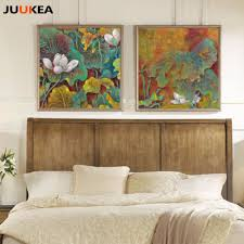 100 Zen Style Living Room US 795 20 OFFChinese Water Lily Home Decor Ink Paintings Print On Canvas Modern Wall Picture Art For No Framein Painting