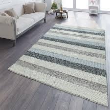natur teppich aus wolle gestreift grau