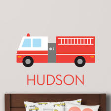 100 Fire Truck Wall Decals Truck Decal Personalized Maxwill Studio