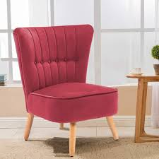 Warmiehomy Modern Velvet Occasional Chair Buttoned Chair Upholstered Accent  Chair With Oak Legs For Bedroom Living Room Hallway (Wine Red) Red Accent Chair Trinidad Modern Mahogany W Round Chrome Base Inspirational With Arms Photograph Of Purple Mid Century Attributed To Knoll Chairs For Living Room Ideas Including Cambridge Nissi 981705red The Home Depot Alexa Classic Microfiber And Storage Ottoman Abigail Ii Patterson Iii Dinah Patio Stationary 6800 Truesdells Fniture Inc