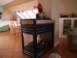 Fireplace Modern Red Orange Glass Mosaic Hardwood Flooring Great Room Dining