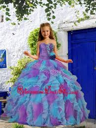 cheap beading and ruffles purple and blue little pageant