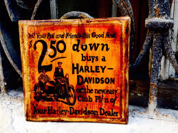 Harley Davidson Vintage Commercial Brochure Wooden Picture Home Decor Wall