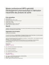 master professionnel mps spécialité développement pharmaceutique