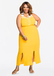 plus size dresses embroidered yoke carwash maxi dress