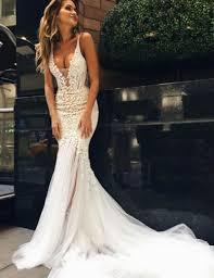 white lace mermaid wedding dresses v neck applique bridal
