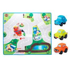 tapis de jeux voitures 3 voitures et 1 tapis de jeu route pour enfant de 18 mois à 3 ans