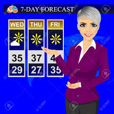 TV Weather News Reporter Meteorologist Anchorwoman Reporting On The Monitor Screen Stock Vector