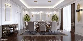 großer esstisch für 8 personen im klassischen stil esszimmer kristallkronleuchter über der tabelle die gestaltung des speisesaals stockfoto und mehr