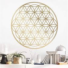 grandora wandtattoo blume des lebens i gold bxh 58 x 58 cm i schlafzimmer wohnzimmer sticker aufkleber wandaufkleber wandsticker mandala folie w940