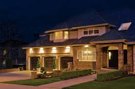 LED Recessed Outdoor Lighting For Big House With Simple Front Patio