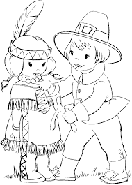 Two Kids In The Thanksgiving Day Coloring Pages