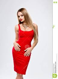 beautiful lady in red dress with bright makeup red lips gorgeous