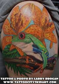 Green Tree Frog Lily Color Tattoo By Larry Brogan City Lockport IL