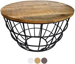 casamia couchtisch wohnzimmer tisch rund beistelltisch ø 55 cm metall drahtgestell gitter massiv tabacco