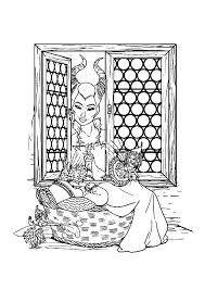 Maleficent Watch Baby Princess Aurora From Window Coloring Pages