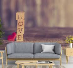 liebe tapete text in holz