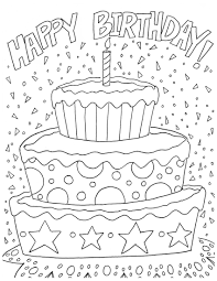 For Kids Free Happy Birthday Coloring Pages