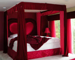 y Red Couple Bedroom Ideas With Heart Shaped Headboard And