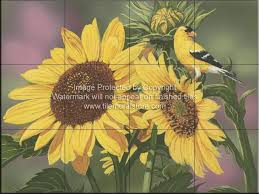 backyard bird decorative wall tiles goldfinch and sunflowers wv