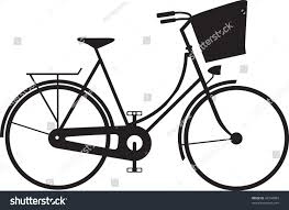 classic ladies shopping bike silhouette stock vector 43744804