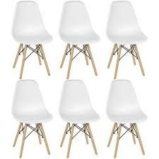 6er set esszimmerstühle für esszimmer metallrahmen lounge kunststoff stuhl metallrahmen pp weiß