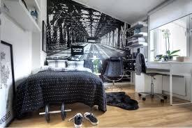 ideen jugendzimmer junge schwarz weiß tapete wanddeko