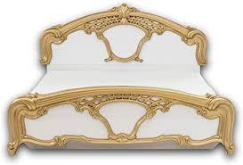 stella trading königliches doppelbett mit goldenen ornamenten 180 x 200 cm schlafzimmer komplett set im barock design weiß 203 x 124 x