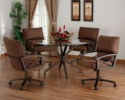 6 Swivel Tilt Caster Glass Top Dining Set By Tempo Furniture The
