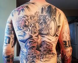 Mens Motorcycle Engine Tattoo Designs On Back