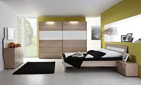 schlafzimmer mit bett 180 x 200 cm eiche sägerau glas weiss