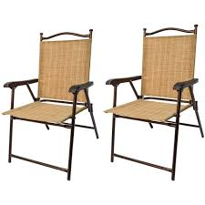 Sling Black Outdoor Chairs Bamboo Set of 2 Walmart